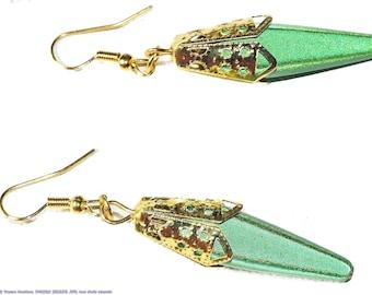 Green, bright, oriental inspired earrings