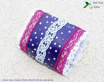 Romantic purple leather and white lace and raspberry cuff bracelet