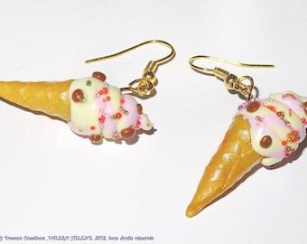 Earrings glasses ice cream vanilla strawberry, fimo