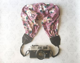 Scarf Camera Strap, DSLR Camera Strap, Soft and Silky, Nikon, Canon, DSLR Photography,  Gift Photographer Gift - Plum Purple Floral