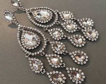 Long Chandelier Earrings silver and clear formal rhinestone earrings bridal earrings elegant wedding earrings mother of the bride
