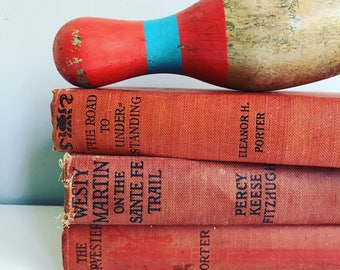 Vintage Antique Red Books Instant Library Collection Decorative Books Photography Props Shabby Farmhouse Chic