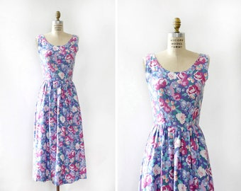 Floral Sundress S • 80s Dress • Vintage Floral Dress • Lavender Dress with Pockets • Cotton Summer Dress • Purple Sundress | D1331