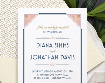 Art Deco Wedding Invitation / 'Gatsby' 1920s Vintage Wedding Invite / Dusty Rose Pink Navy Blue Gold / Custom Colours Available / ONE SAMPLE