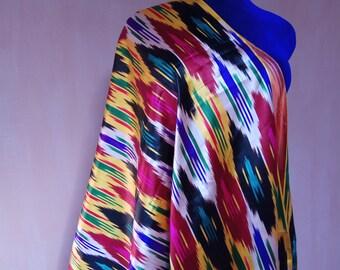 Uzbek vintage multicolor pure silk ikat fabric Han atlas 3,23 yards. VI013