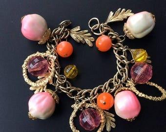 ANNIVERSARY SALE Fun Oversized Vintage Charm Bracelet - Pink, Orange