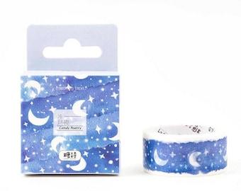 Moon & stars washi masking tape for planner scrapbook celestial journal masking craft swap mail package stationery - Lillibon