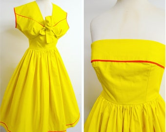 1950s Yellow cotton strapless sundress & bolero jacket set / 50s boned summer full skirt dress cropped jacket - XXS XS