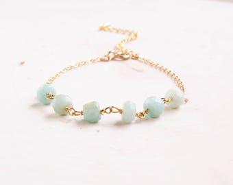 Amazonite Bracelet for Women | Beaded Bracelet | Gemstone Bracelet | Blue Amazonite Bracelet | Layering Bracelet | Summer Jewelry