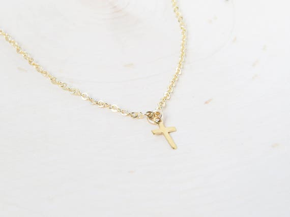 Tiny Cross Necklace | Gold Cross Necklace | Cross Choker | Layering Necklace | Dainty Necklace | Gift for Her | Christmas Gift