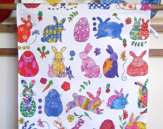 Bunny, Flower Print Linen/Canvas Kitchen Towel
