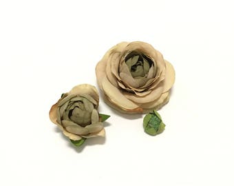 TAUPE Beige ArtificialRanunculus Bud to Bloom, Wedding Flowers, Silk Flowers, Artificial Flowers, Flower Crown, Wedding, Millinery, Wreath