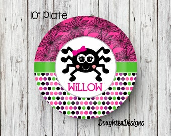 Personalized Melamine Plate, Halloween plate, Girl spider plate, Personalized Halloween plate, Personalized, Kids Plate, Melamine Plate