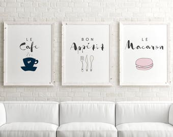 Set Of 3 Prints // Paris Decor, Gallery Wall Prints, Typography Wall Art
