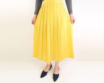 VINTAGE Christian Dior Skirt Yellow Pleated Linen