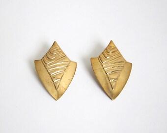 VINTAGE Earrings 1980s Big Earrings Gold Metal Pierced