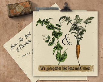 We Go Together Like Peas & Carrots Handmade Seeded Paper Card.