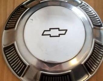 Vintage Mid Century Silver Tone Chevrolet Hubcap 1960s Restoration