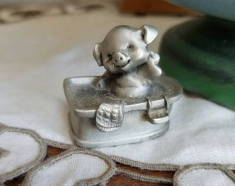 Vintage Little Gallery Fine Pewter Hallmark Cards Inc 1970s 1977 Pig in a Bath Made in the USA