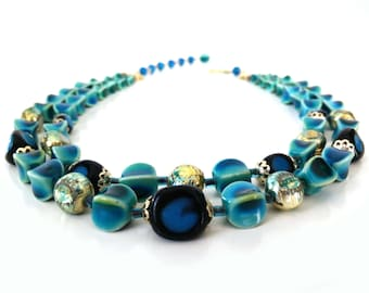 Vintage Two Strand Necklace / Teal Variegated molded bead jewelry