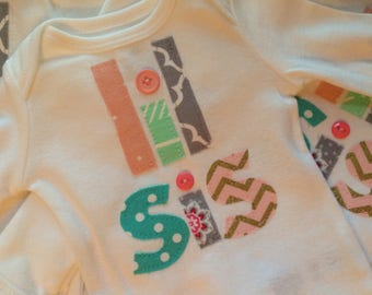 Little Sister Bodysuit/Little Sister Onesie/Little Sister/Ships Next Day/Pregnancy Announcement/Gift Ideas/Take Home Outfit/Baby Shower Gift