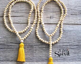 Mala Meditation Beads, Spiritual Jewelry, 108 bead Meditation Mala, Worry Beads, Yoga Jewelry, Tassel Mala