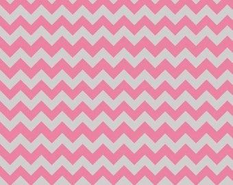 Winter Sale Riley Blake Fabric - 1 Yard of Small Chevron in Hot Pink/Gray