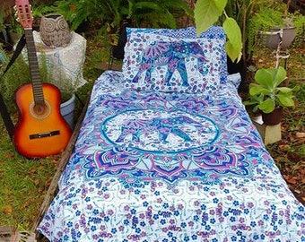 Blue and Pink Elephant Mandala Duvet Cover Set or Flat Sheet Set Hippie Bedding Bedding Gypsy Bedding Beach Bedding Yoga Mediation Bedding