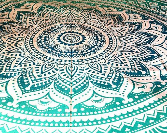 Blue Green Turquoise Duvet Cover Mandala Tapestry Boho Bedding with Matching Pillowcases Duvet Gypsy Bedding Dorm Room Beach Yoga