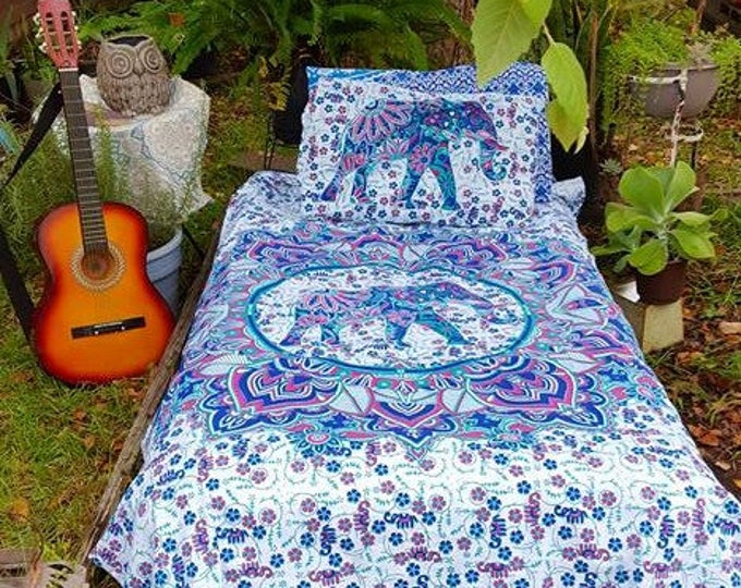 Blue and Pink Elephant Mandala Duvet Cover Set or Flat Sheet Set Hippie Bedding Bedding Gypsy Bedding Beach Bedding Yoga Mediation Bedding