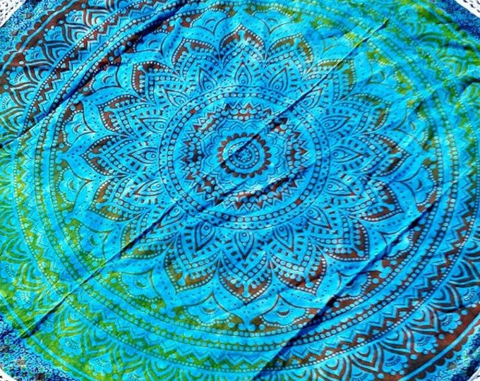 Earthy Blue Green Mandala Roundie with White Fringe Mandala Tapestry Beach Blanket Yoga Mat Meditation Mat Dorm Decor Hippie Tapestry