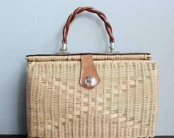 1960s Handbag // Marchioness Straw Large Handbag // vintage 60s purse