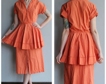 1950s Dress // Tangerine Glow Cotton Dress // vintage 50s dress