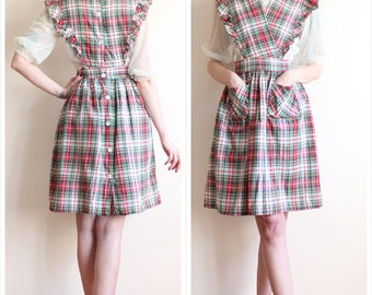 1940s Dress // Petti Plaid Pinafore Dress