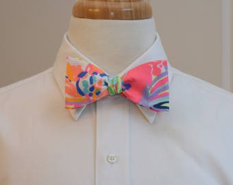 Men's Bow Tie, multi color neon bright coral  Island Seacret Lilly print, wedding bow tie, groom bow tie, groomsmen gift, prom bow tie