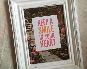 Keep a Smile in Your Heart vintage background, upcycled frame