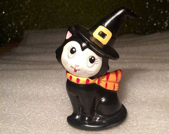 Vintage Hand Painted Halloween Black Cat