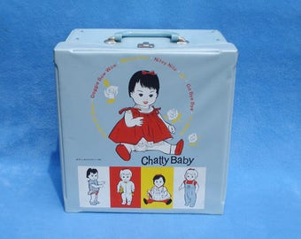 Vintage 1962  Mattel Chatty Baby Blue Vinyl Doll Case Complete with Accessory Drawers and Red & White Striped Vinyl Bag