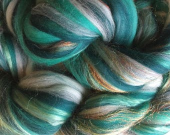 Shimmer Turquoise - Merino Wool/Silk/Trilobal Mix for Needle Felting, Wet Felting & Spinning approx 45gm