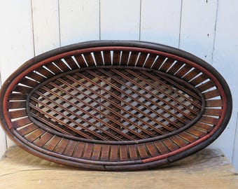 Dark Brown Woven Wood Oval Basket