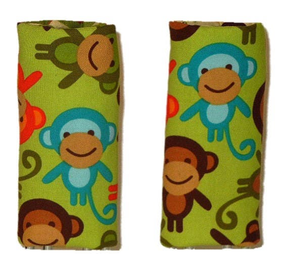 Car seat strap covers, padded strap covers, reversible strap covers, boy Car Seat Strap Covers,  Monkeys reversible carseat strap covers