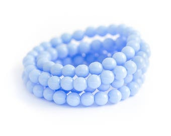 Alice Blue Czech Glass Bead Spacers, Pastel Blue Druks, Pressed Opaque Smooth Rounds, 4mm x 50pc (0012)
