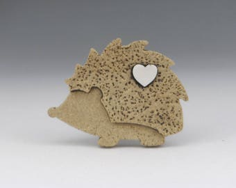 Hedgehog pin button stoneware and porcelain mini art for wearing on hats, ties and lapels