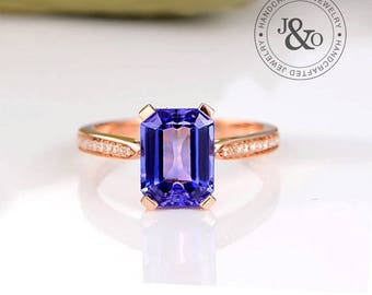 Tanzanite Engagement Ring - Antique Style Rose Gold Tanzanite Engagement Ring - Tanzanite Solitaire Engagement Ring