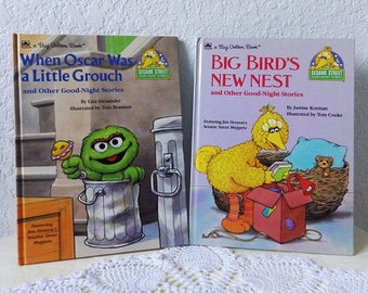 Two Sesame Street Story Books: When Oscar Was A Little Grouch and Big Bird's New Nest, 1989. Near New Condition.