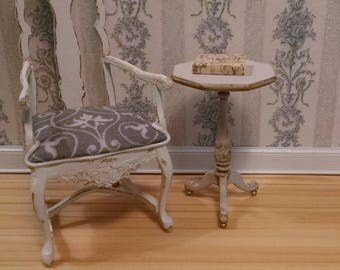 Gustavian Side Table/Pedestal/Candlestand in Aged Grey Finish Miniature Dollhouse Furniture Scale 1:12