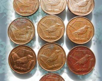 Lot of 10 Cayman Islands Coins ~ Ten Vintage One Cent Bronze Coins Bird Design