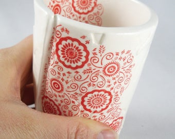 Red Silkscreened Cup Ceramic Lacey Patterned Tumbler gift for her gift for wife gift for bride gift for kitchen housewarming gift handmade