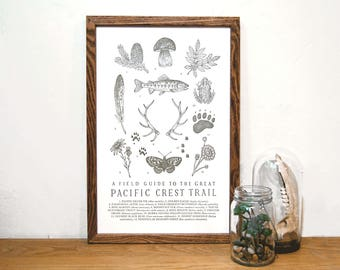 Pacific Crest Trail Field Guide Letterpress Print | Pacific Northwest Wall Art | Hiking Art