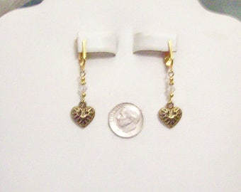 Tibetan Dark Gold Small Filigree Heart Clear Bicone Clip On Earrings or Pierced 20 Colors Available